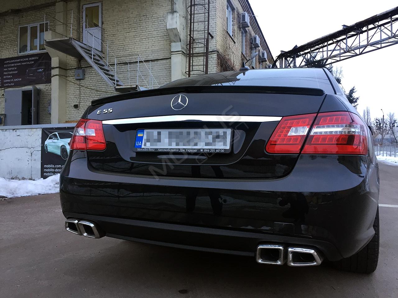 Mercedes-Benz E 350 2011 - установка диффузора и насадок на гулишетель E55 от AMG