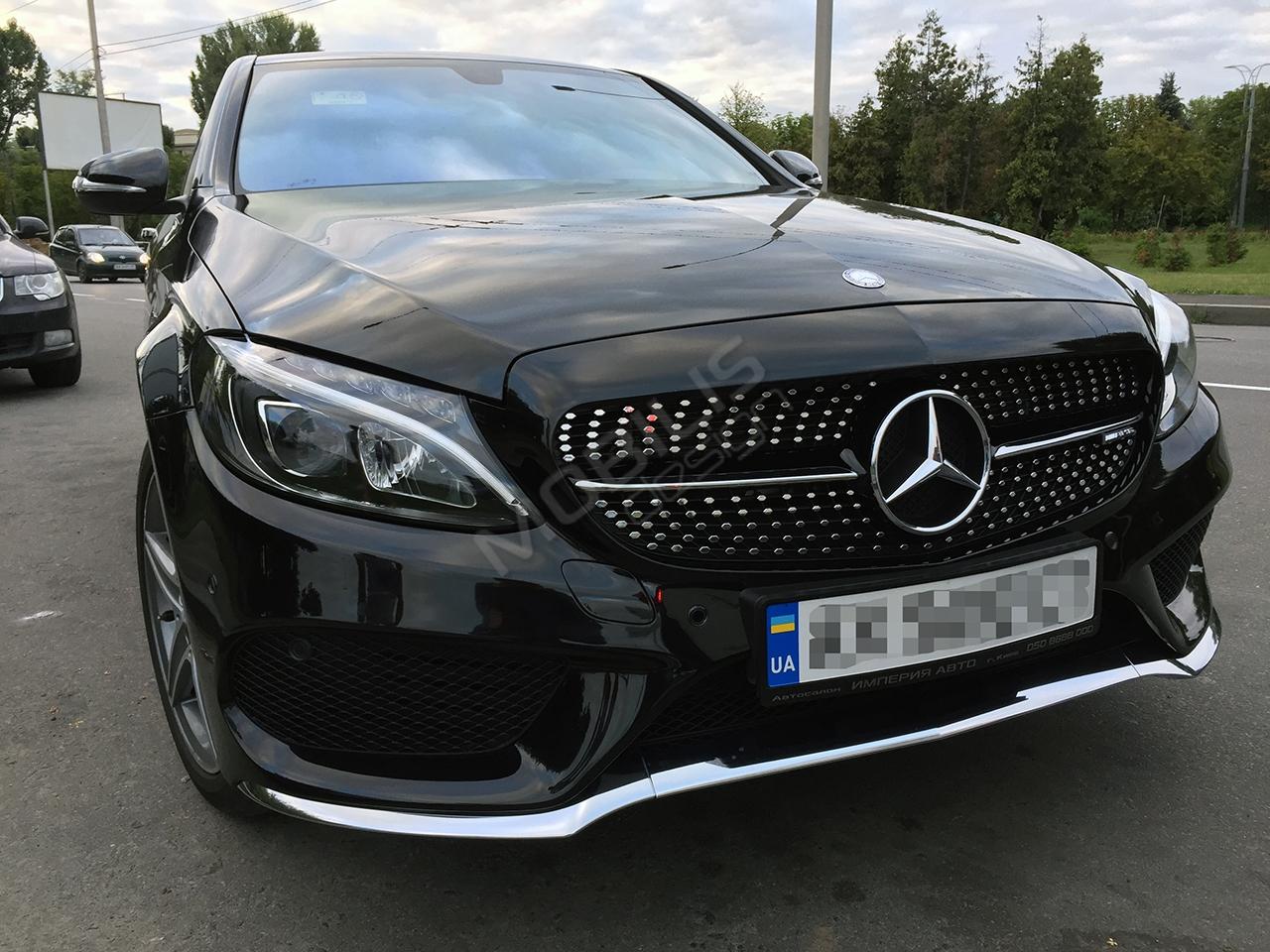 Mercedes-Benz C 250 2016 - установка решетки, спойлера, диффузора и насадок